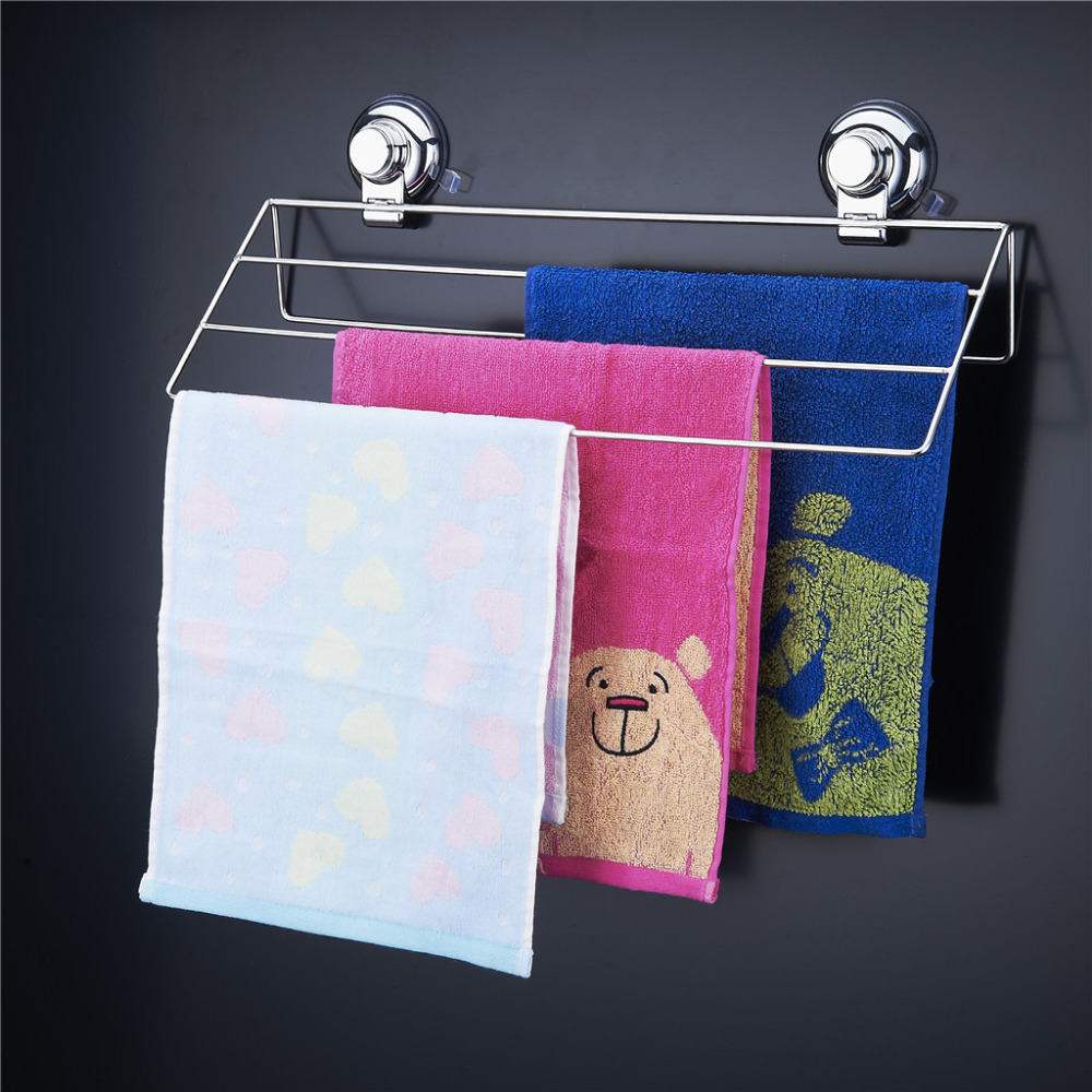 Floureon Bathroom Towel Rack Hanging Shelves Stainless Steel Three Layers Towel Bars with Vacuum Suction Cups Bathroom Shelves(China (Mainland))