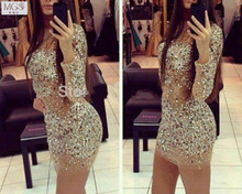 Hot vente 2016 MGS Tulle Scoop voir au travers perles paillettes Short Mini robes de Cocktail manches longues Sparkly Shinny parti robes(China (Mainland))