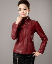 Mandarin Collar Casual Jackets And Coats Brown Leather Clothing Women Leather Jacket Plus Size 5XL Coat Leather Female(China (Mainland))