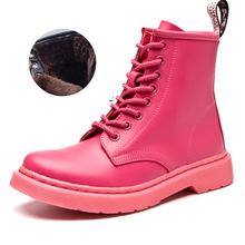 แบรนด์รองเท้าผู้หญิง Martens ฤดูหนาวหนังรถจักรยานยนต์รองเท้าผู้หญิงข้อเท้ารอง(China)