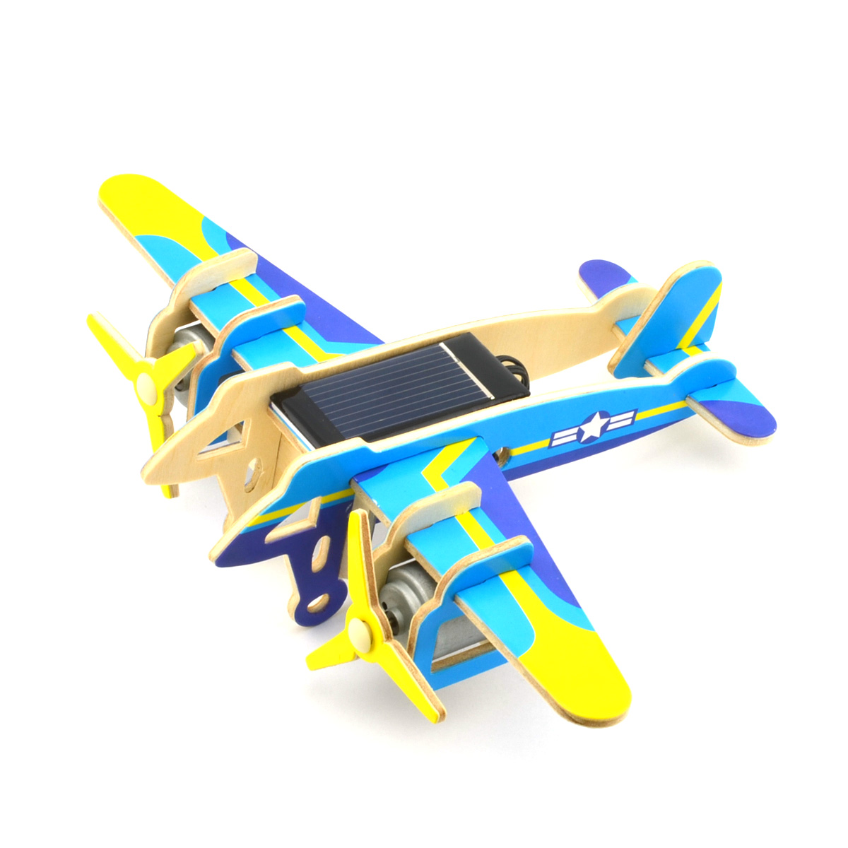 DIY Educational Assembly Puzzle Solar Powered 3D Wooden Falcon Twin-engine Bomber Helicopter Aircraft Woodcraft Toy(China (Mainland))