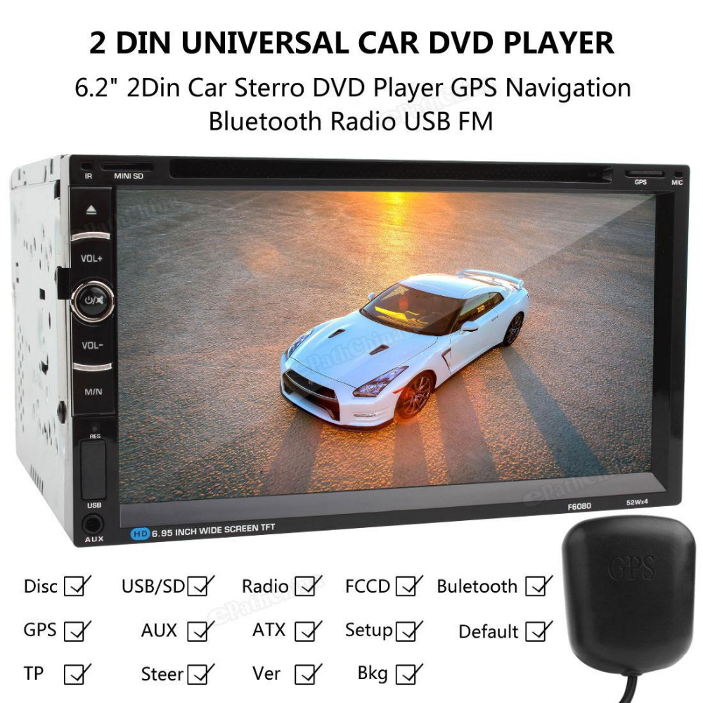 F6080B 6.2 Inch HD Touch screen Double-DIN Car FM/AM RDS Radio Receiver Bluetooth DVD CD Player with Wireless Remote Control&GPS(China (Mainland))