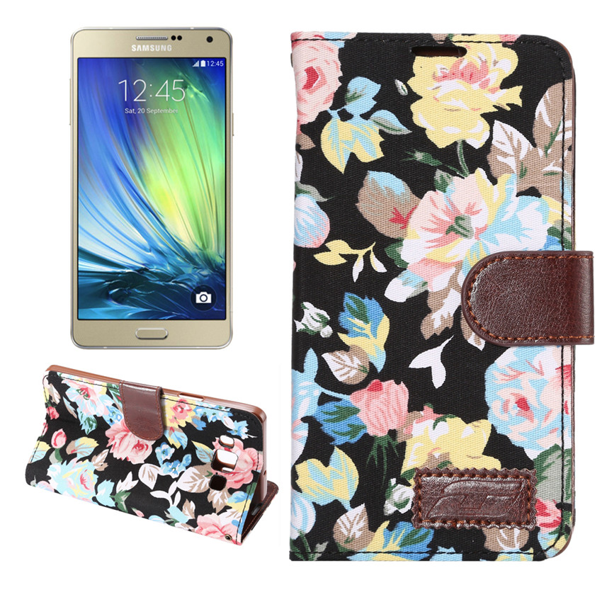 Flower Print Fabric + PU leather Case For Samsung GALAXY A7 A7000 Wallet Card Holder stand Flip Phone Bags cover(China (Mainland))
