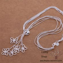 LX AN496 Free shipping silver plated Necklace silver plated fashion jewelry Tai chi five butterflies cnialepa