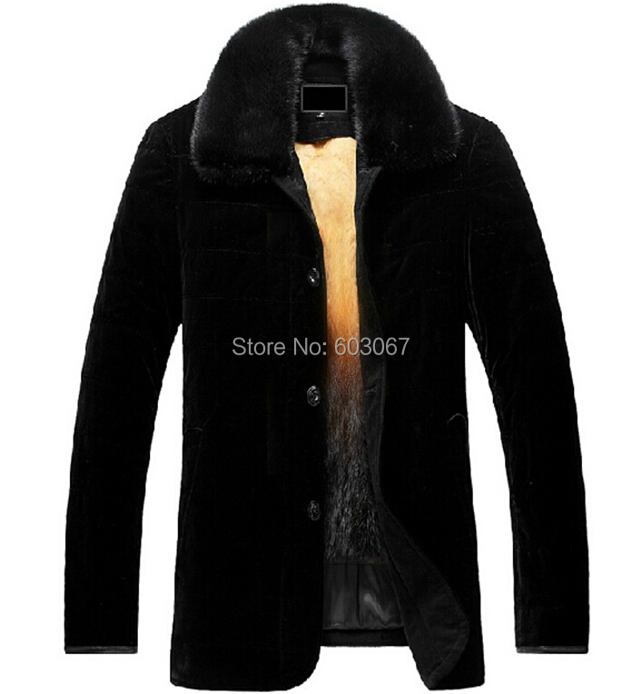 2016 mens mink coat gold liner mink hair fur leather clothing male medium-long velvet nick coat thick for Russian winter XXXXL(China (Mainland))