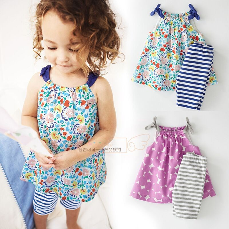 New 2015 Summer Baby Girls Boutique Clothing Set Cotton Floral Vest + Stripe Pants 2 pcs Clothes Girls Suit(China (Mainland))