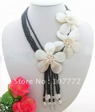 Charming! White Pearl&Shell&Onyx&Crystal Necklace free +shippment(China (Mainland))