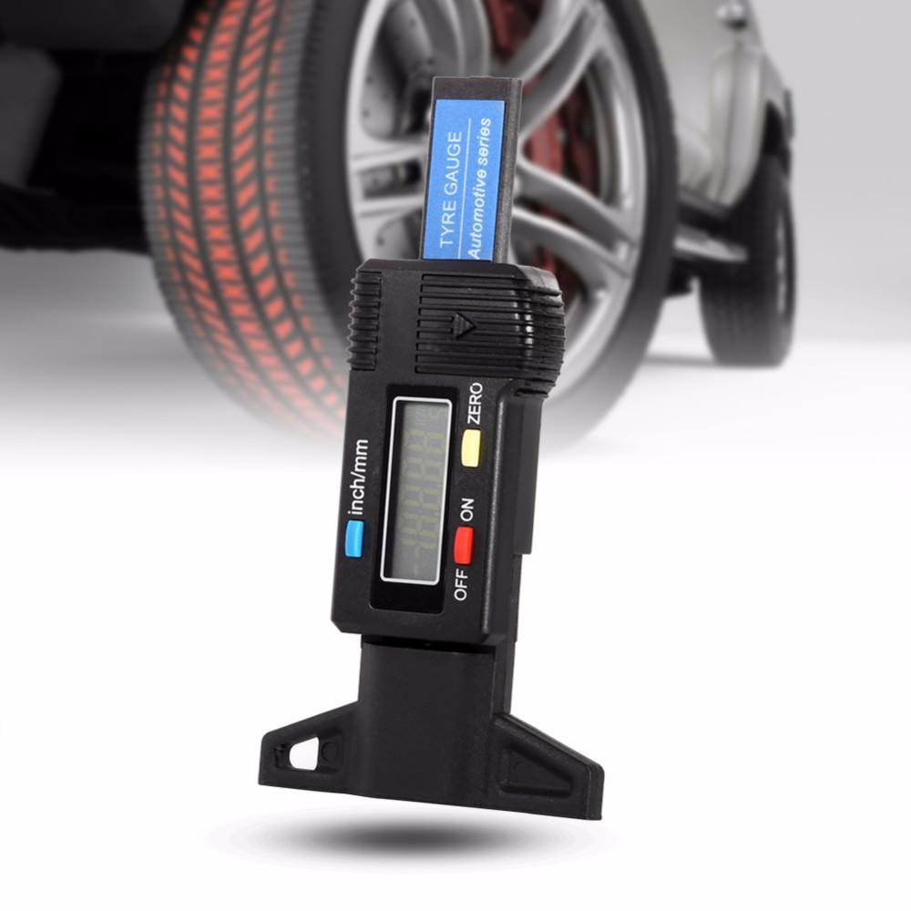 TOPS Car Digital Tyre Tire Tread Depth Gauge 0-25.4mm Measurer Tool Caliper LCD Display Black Car Tire Gauge Tire Depth Gauge