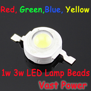 5PCS 1W 3W LED Bulb IC SMD Lamp Light Red Blue Green Yellow LED Lamp Beads Chips for DIY and Home Use Free Shipping(China (Mainland))