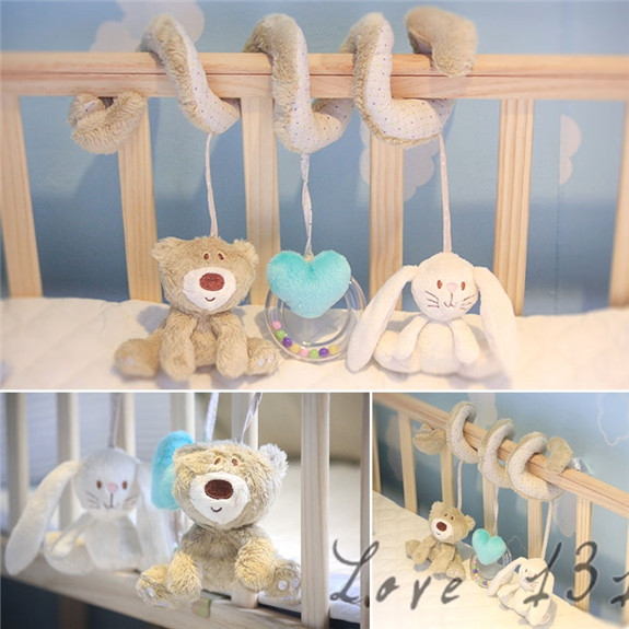 2015 New Mamas Papas Cot Bed Hanging Toy Baby Rattle Toy Soft Plush Animal Rabbit Musical Mobile Bell Products Heart SV009443(China (Mainland))