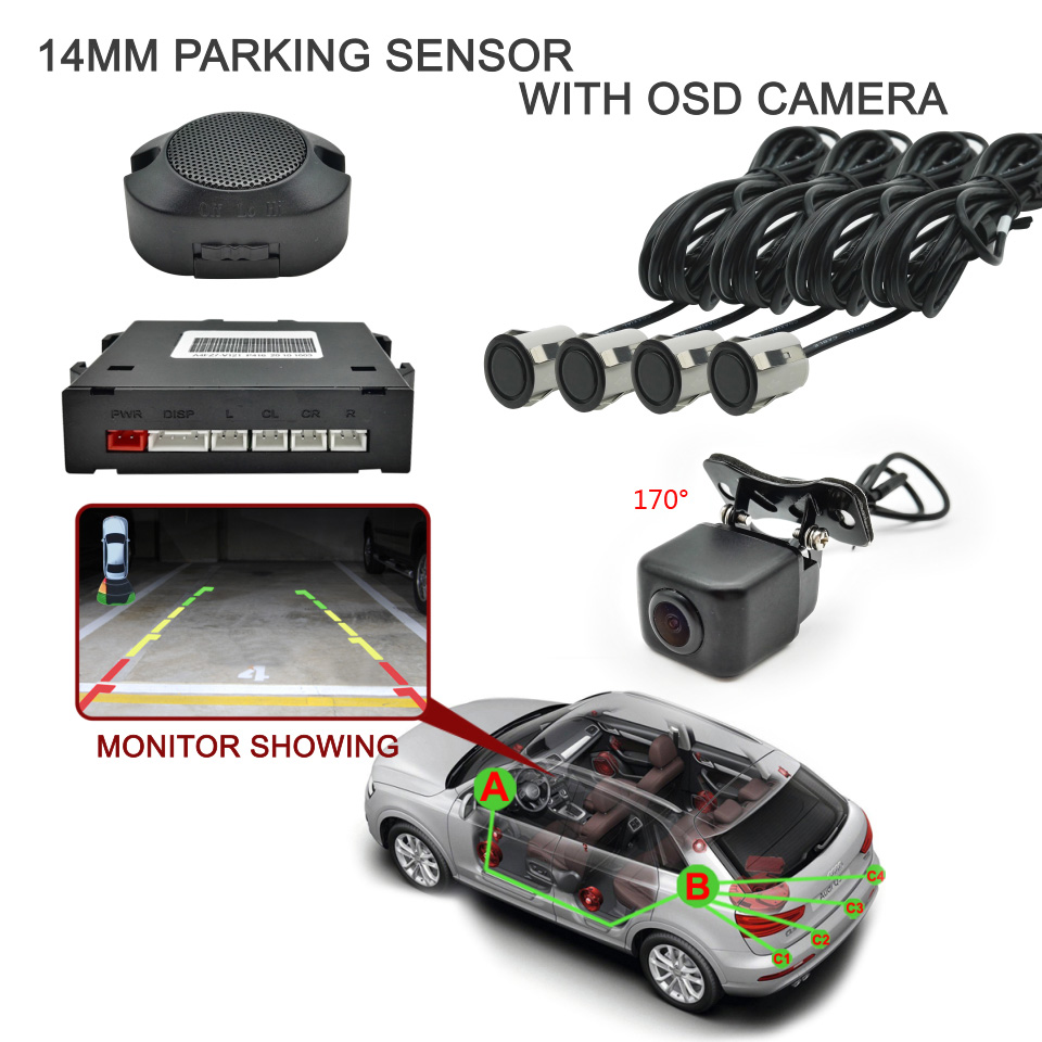 Car Buzzer Parking Sensor With OSD Rear Camera 14mm Radar Sensors 170 Degree Waterproof IP68 Obstacle Distance On The Monitor(China (Mainland))