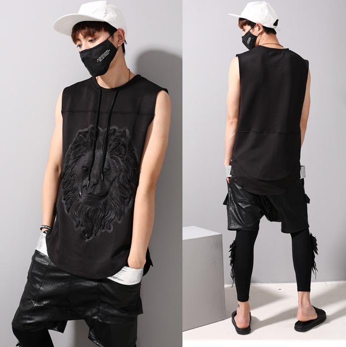 2016 Bodybuilding Side Zip Lion Print 3D Brand Mens Summer Vest Animal Muscle Shirts Basketball Tank Top Men Sleeve Less T Shirt(China (Mainland))