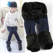 New 2015 winter fur girls leggings children pants kids thick warm elastic waist leggings girl pants(China (Mainland))