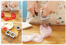 Easy Onion Holder Slicer Vegetable tools Tomato Cutter Stainless Steel Kitchen Gadgets No More Stinky Hands(China (Mainland))