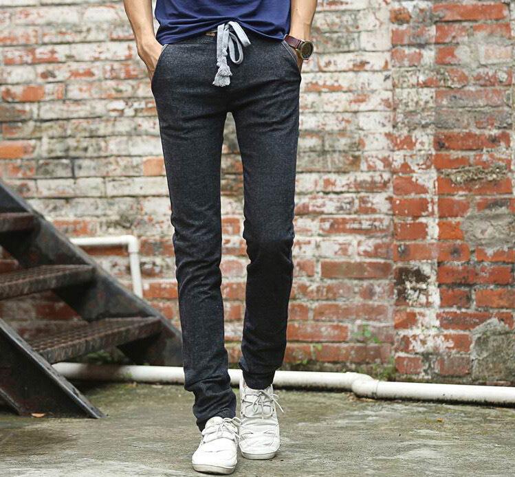 Mens Black Linen Drawstring Pants Linen Drawstring Pants
