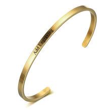 Hadiah Pribadi Persahabatan Manset Gelang untuk Wanita Mengukir Nama Stainless Steel ID Gelang & Gelang (Jewelora BA101918)(China)