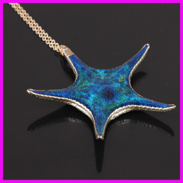 1pcs Gold Plated Real Starfish Pendant Necklace,Trendy Star Shape Pendant Necklace Fit For women(China (Mainland))