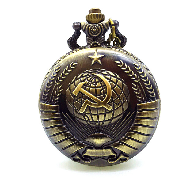 Vintage Bronze Quartz Pocket Watch Russia Soviet Sickle Hammer Train Eagle Wings Fire Fighter Horse Necklace Relogio De Bolso(China (Mainland))