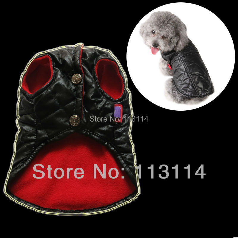 Kunstleer zwarte hond jassen jassen fleece voering pet apparel hondenkleding xs/s/m/l/xl gratis verzending(China (Mainland))