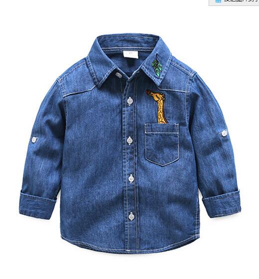 Boy cowboy shirt boy 2017 new spring baby long-sleeved shirt children's cotton shirt large children's clothing(China (Mainland))
