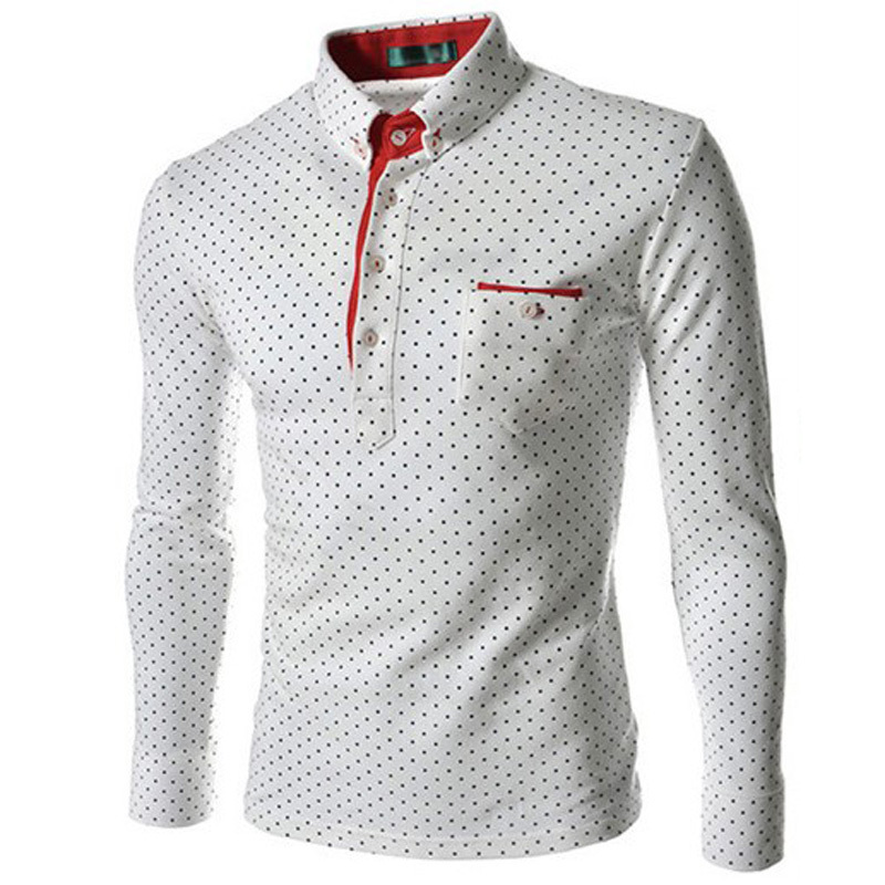 New 2015 Fashion Gentleman Style Polka Dot Men Polo Shirt Casual Long Sleeve Cotton Polo Shirts Men White Navy Black M-XXXL(China (Mainland))