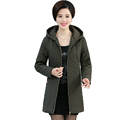 Women Autumn Warm Longline Hooded Quilted Coats Zipper Front Jackets Plus Size Grey Army Green Dark