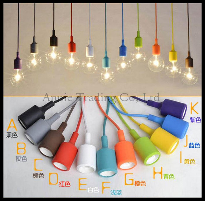 Art Decor Silicone E27 Home Ceiling Pendant Lamp Light Bulb Holder Hanging Fixture base Socket American Modern retro single head(China (Mainland))