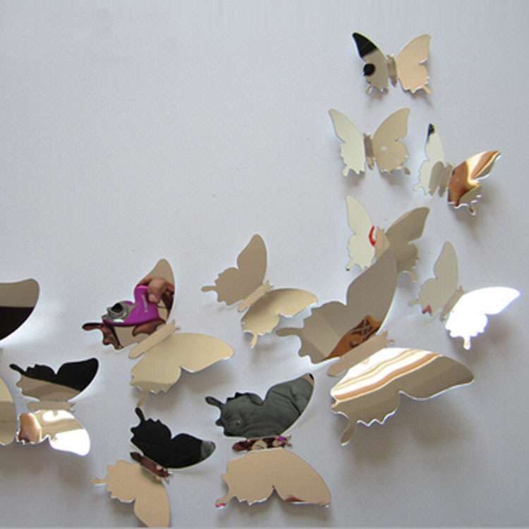 product 12pcs/set New Arrive Mirror Sliver 3D Butterfly Wall Stickers Party Wedding Decor DIY Home Decorations