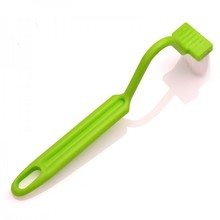 1 piece Portable Toilet Brush Scrubber V-type Cleaner Clean Brush Bent Bowl Handle H-58(China (Mainland))