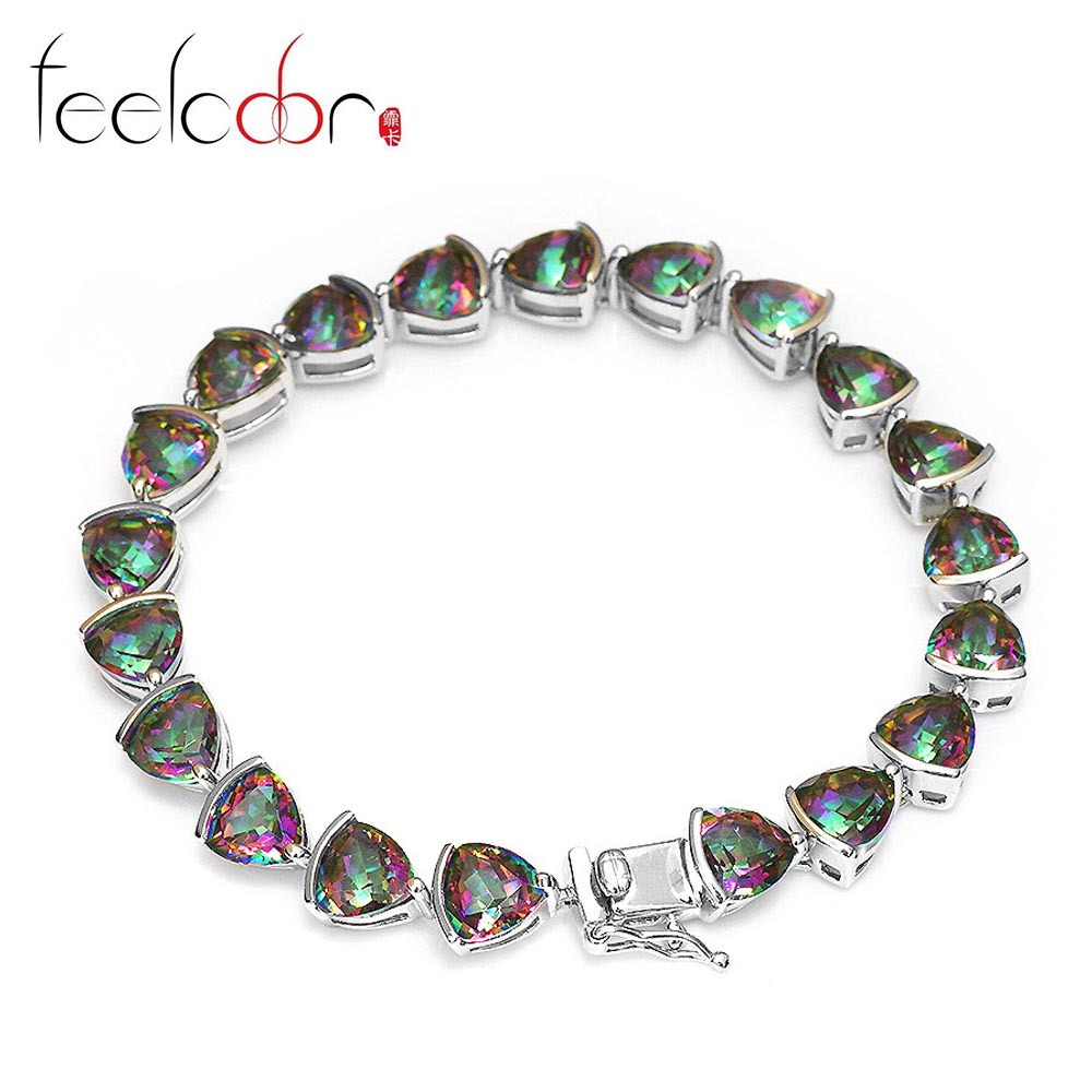 Brand New  Vintage 26c Triangle Stone Genuine Rainbow Fire Mystic Topaz Solid 925 Sterling Silver Tennis Bracelet Sets For Women