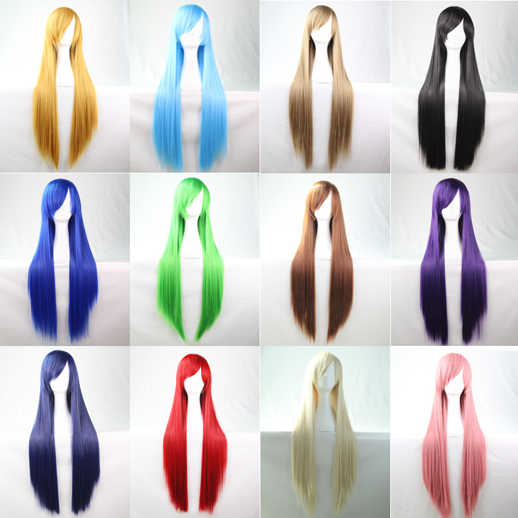 80 Cm Heat Resistant Harajuku Anime Cosplay Wigs Young Long Straight Synthetic Hair Wig/Wigs For Japanese Anime 15 Colors(China (Mainland))