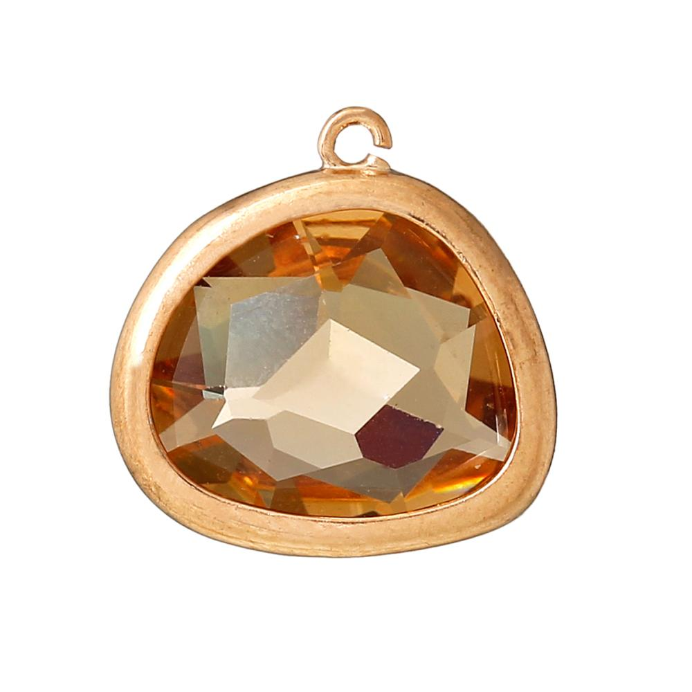 Copper Charm Pendants November Birthstone Oval Rose Gold Tawny Synthetic Smoky Quartz Faceted 16mm x15mm,3PCs 2015 new(China (Mainland))