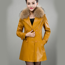 Fur Collar Women Leather Jacket Suede Coat For Lady Spring Autumn Female Clothing Winter Jacket for women HX1521