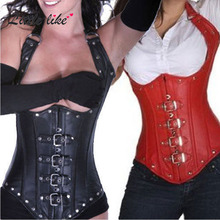 Free Shipping Sexy Gothic Lace up Underbust Corsage Faux Leather Steel Boned Corset Black Red Steam Punk Bustiers Tops