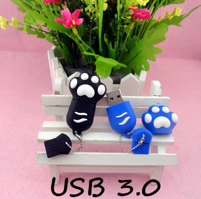 usb stickBest qualityHot Cartoon tiger Paw USB 3.0 Flash Memory Stick Pen Drive 8GB 16GB 32GB 64GB Creative Pendrives 3ZZ3(China (Mainland))