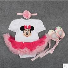 tutu Baby Girls Dress 2015 Fashion Childen Sets Cotton Cartoon Minnie Vestidos Infant Party girl christening dresses