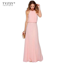 Buy TYJTJY 2017 New Casual Summer Sexy Shoulder Maxi Women Evening Party Dress Black White Vintage Long Beach Chiffon Dresses for $12.69 in AliExpress store