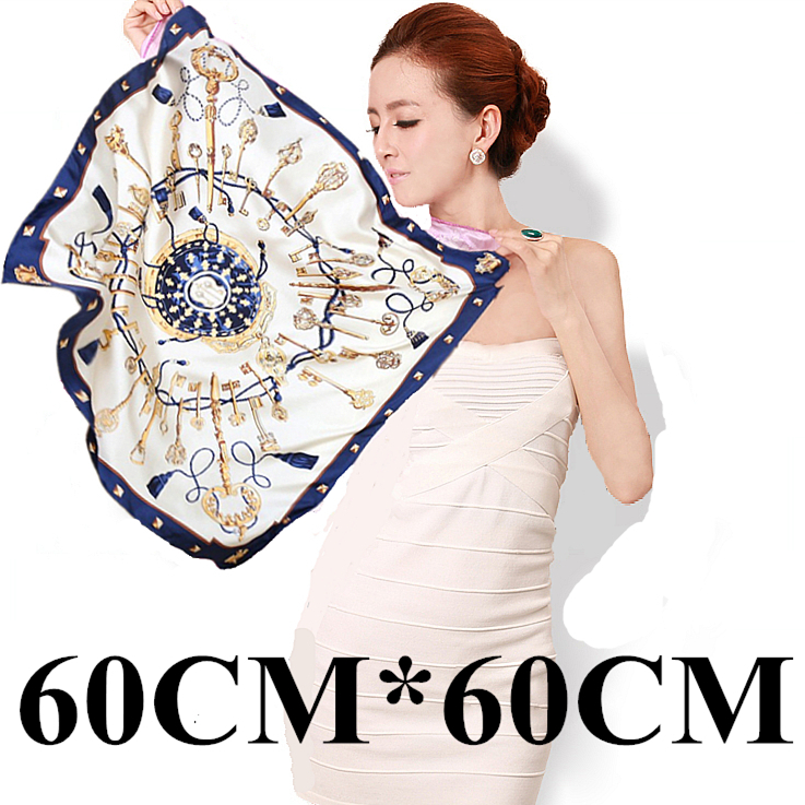 New Brand Casual Female Silk Scarf Classic Retro Key Pattern Fashion Wrap Ladies Satin Career Small Square Silk Scarf 60x60cm(China (Mainland))