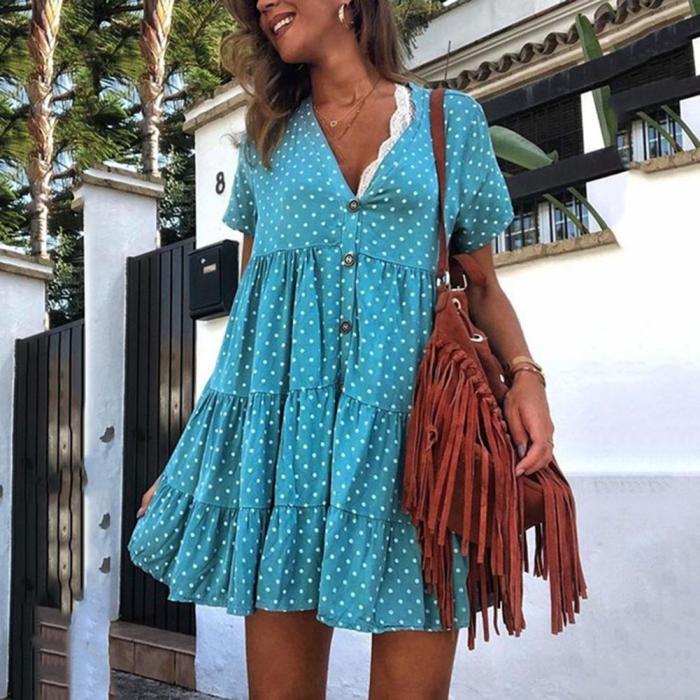 Женское свободное короткое платье в горошек с v образным вырезом и оборками для