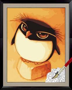 Pipo diy digital oil painting penguin oilcans 30 50