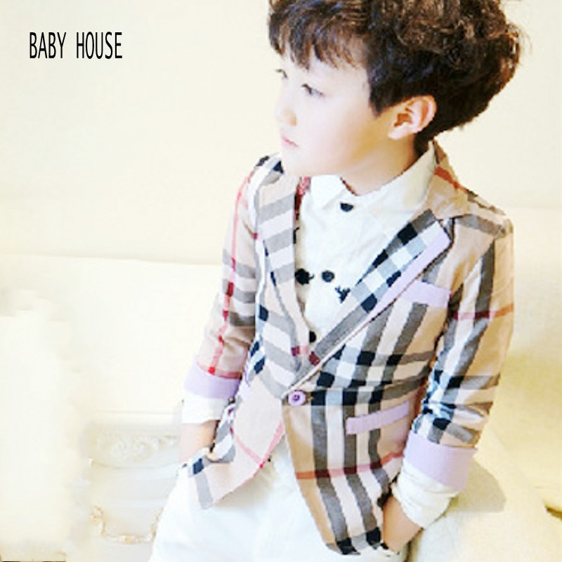 New Autumn Spring Fashion Plaid Kids Blazers Jackets Casual Baby Boy Blazer Good Quality Jackets For Boys B007(China (Mainland))