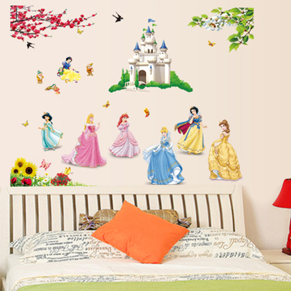 colorful beautiful Fairytale Princess Castle Seven Dwarf for kids girls room decorative wall stickers birthday festival gifts(China (Mainland))
