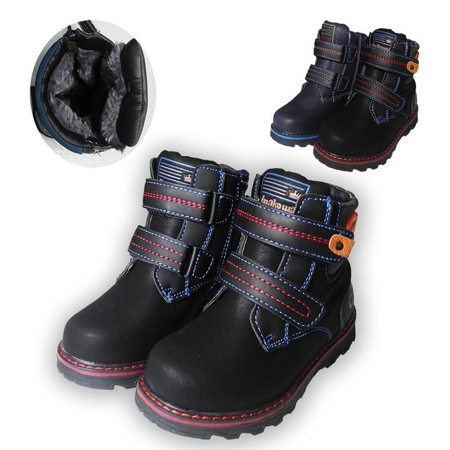 Экспортируется в Европу 1 пара Зимних теплые Ботинки Снега, дети Загрузки хлопка мягкой обуви, дети ПУ Кожа Мальчика Обувь