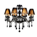 Free Shipping Led Crystal Chandelier Lights 6 8 10 Lights Black Crystal Metal Chrome Modern Chandeliers
