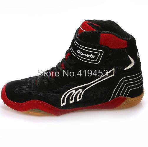 2015 High quality professional wrestling shoes tendon at the end leather sports shoes breathable high-top traning shoes #B1503