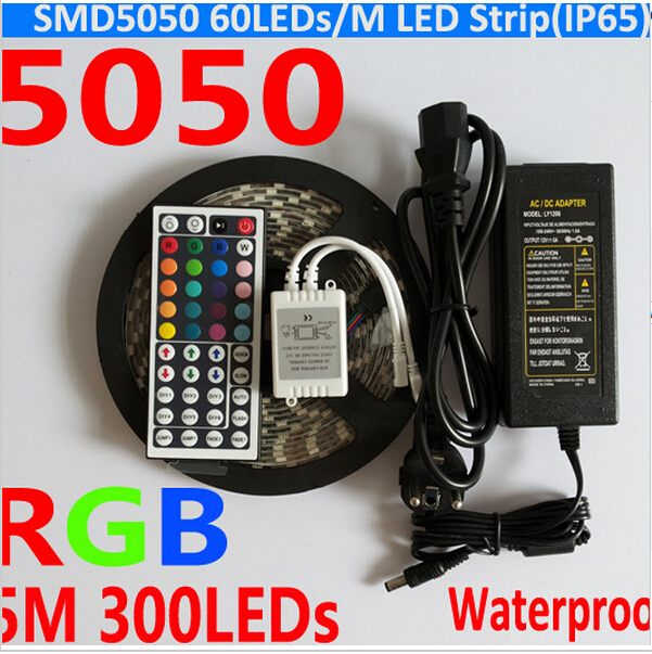 Waterproof 5050 RGB LED Strip 5M 300 Led SMD 44 Keys IR Remote Controller 12V 5A Power Adapter Flexible Light Free Shipping(China (Mainland))