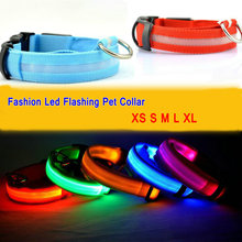 Pure Color Dog Cat Pet Flashing Led Collar Night Light Up Saftey Lead Necklace Leash Adjustable XS S M L XL Various Colors(China (Mainland))