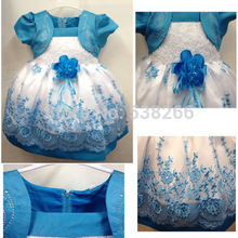 Hot sale Blue Baby Kids Girls Princess Embroidery Flower Party Bridesmaid Gown Full Dress