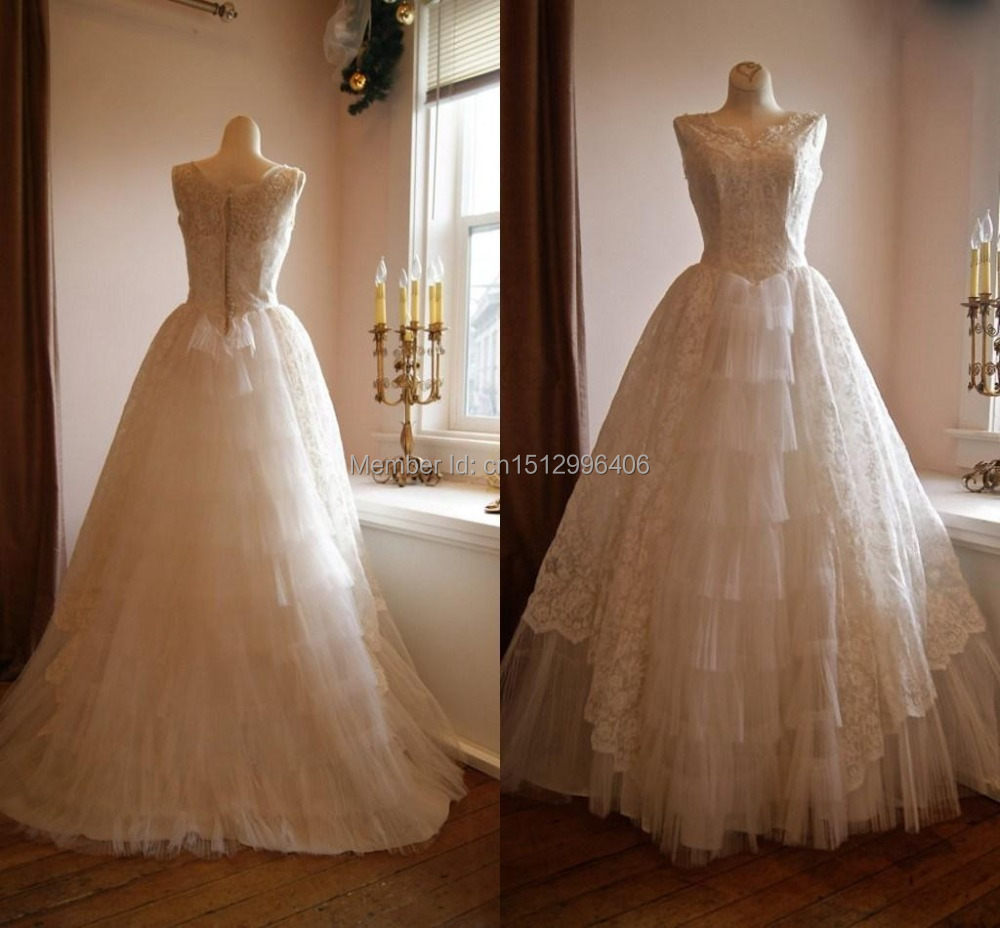 Ball Gown Lace Gorgeous Real Picture Wedding Dresses 2015