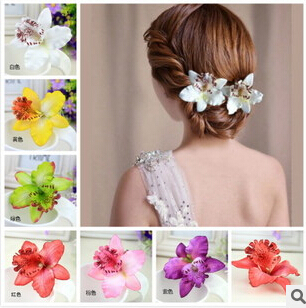 New Bohemia Style Orchid Peony Flowers Hair Clips Hairpins for Women Hair Accessories for Beach 7 colors can be choosed(China (Mainland))